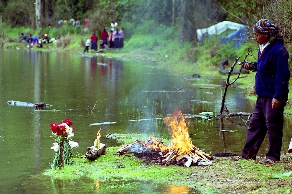 """""""… dejan ofrendas de flores, hacen fuego, queman pom…"""""""