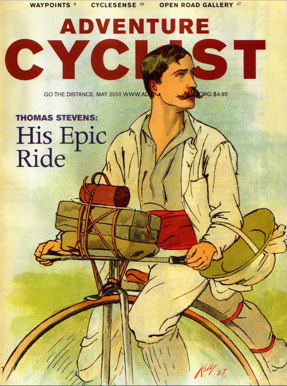 Cartel que anunciaba de la vuelta al mundo de Stevens en bici en 1886.