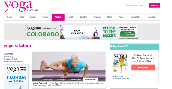 La página de YogaJournal.