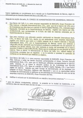 Documento en el Bancafé cumple la orden de la SIB con fondos de su off-shore.