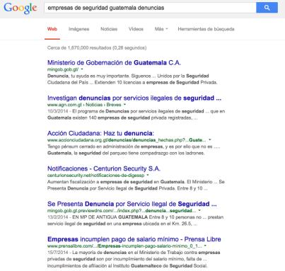 Los resultados de la búsqueda.