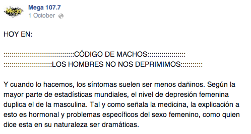 Un post en el facebook de la Mega 107.7.