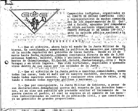 Comunicado del Comité de Unidad Campesina (CUC) durante la toma de la Embajada de Brasil Fuente: Archivo Histórico de la Policía Nacional
