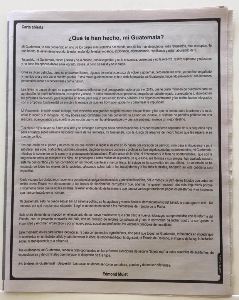 La carta de Mulet, publicada en varios matutinos hace una semana.