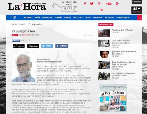La Hora, noviembre 2014.
