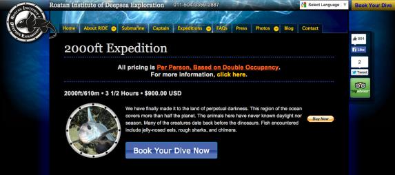 Sitio Web de Stanley Submarines, Roatán