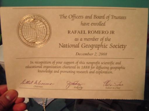 Certificación de membresía del club de socios de NatGeo