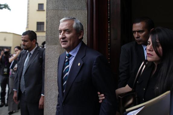Pérez Molina, tras una conferencia.
