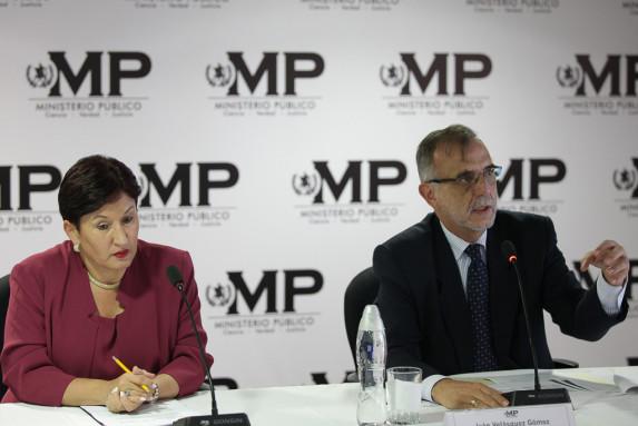 La fiscal del MP, Thelma Aldana, y el comisionado de la CICIG, Iván Velásquez.