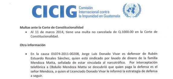 Informe de la CICIG sobre Donado Vivar.