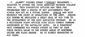 Documento desclasificado que menciona al coronel Édgar Ovalle.