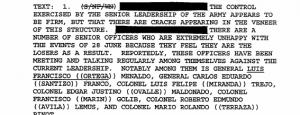 Este documento desclasificado menciona al general José Luis Quilo Ayuso y otros militares.