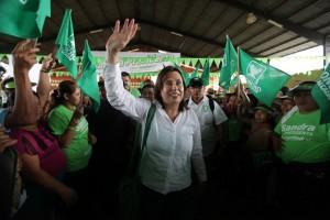 Sandra Torres, en un mitin en Coatepeque, en junio.