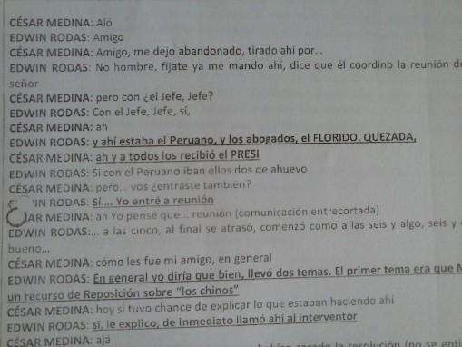 Una de las transcripciones del expediente del MP y la CICIG, involucra a Florido y a Quezada en una reunión con OPM.
