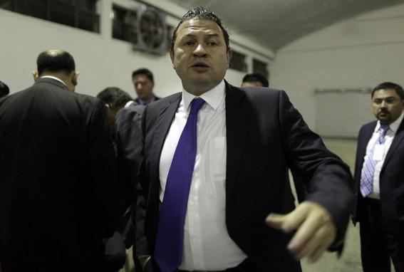 El Rey, después de una votación en el Colegio de Abogados, en la que se enfrentó a las planillas de Roxana Baldetti y Pérez Molina, en 2015.