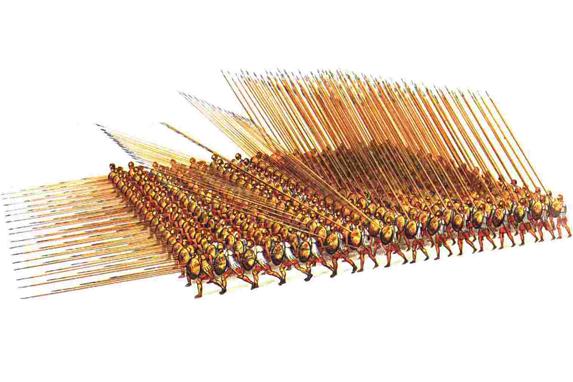 La famosa falange macedonia, tecnología letal para la guerra en la antigüedad (Imagen: Christian Mielost).