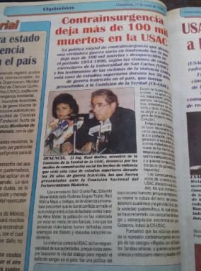 El 17 de junio de 1998 se hizo público que había sido entregado el informe de la verdad de la USAC.