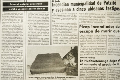 Prensa Libre, 12 de septiembre de 1981. Información 'oficial' sobre el cateo en casa de la familia Portillo (Fuente: Hemeroteca Nacional).