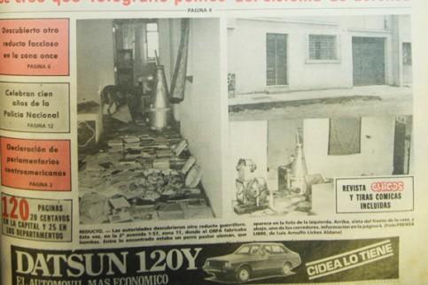 Portada de Prensa Libre del sábado 12 de septiembre de 1981. Aparecen imágenes de la casa de la familia Portillo, cateada por oficiales del ejército (Fuente: Hemeroteca Nacional).
