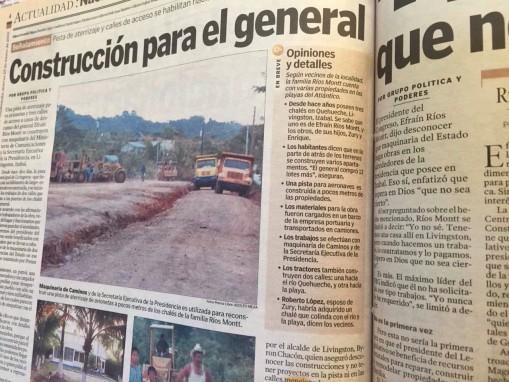 La página 4 del 29 de enero de 2002, sobre el caso de corrupción de Ríos Montt.