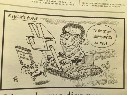 Una caricatura de Fo en Prensa Libre, en 2002.