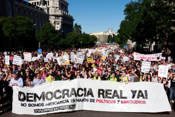 Imagen de una manifestación de mayo de 2011, en Madrid, tomada de la página del movimiento.