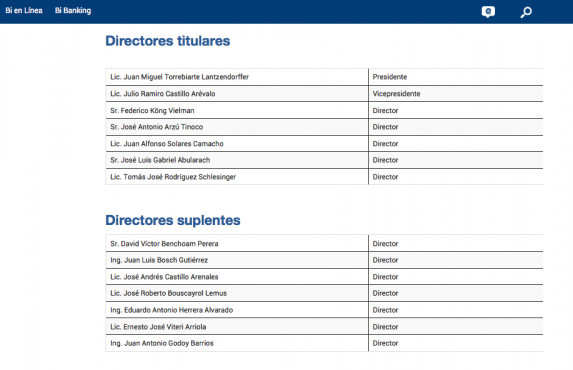 El Consejo de Administración del BI, según su propia página web.
