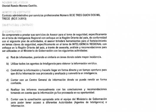 El contrato para recopilar información ciudadana.