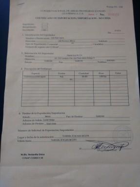 Certificado de Exportación-Importación, Conap.