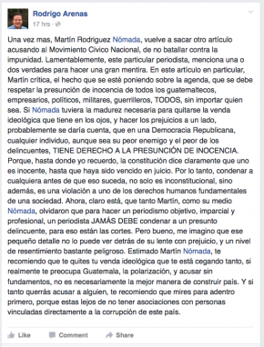 Respuesta Rodrigo Arenas sobre Orellana