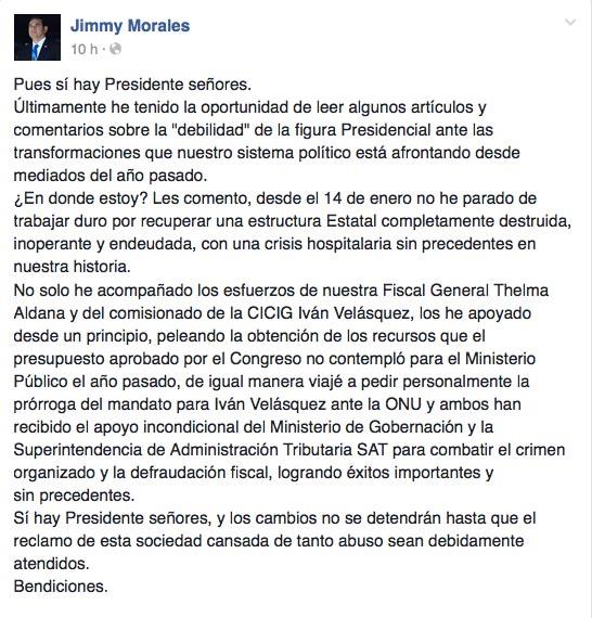 Jimmy dice que sí hay presidente