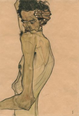"""Autorretrato con mano sobre la cabeza"" Egon Schiele. 1912"