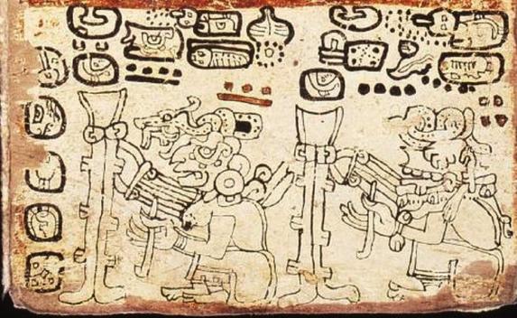 Ixchel con un telar de cintura, en el Códice Tro-Cortesiano.