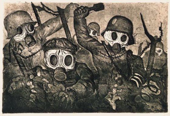 Soldados avanzando con máscaras de gas