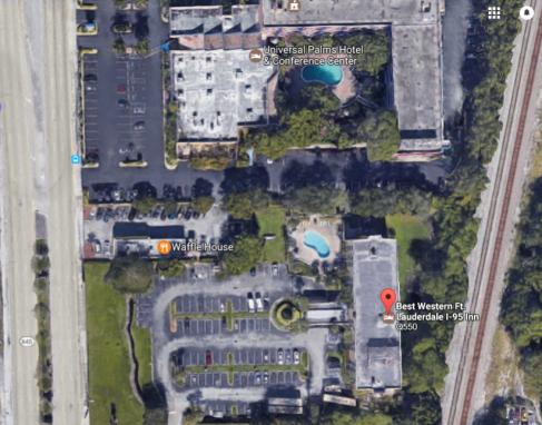 El hotel, en una foto desde el satélite de Google.