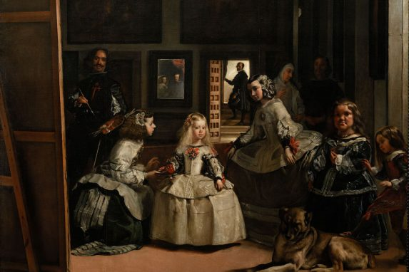 """Vista parcial de """"Las Meninas"""" Diego de Velázquez. 1656. Luego de más de 400 años, es una de las pinturas más famosas de la historia, esencial testimonio de la sociedad cortesana de la época y referente del barroco español."""