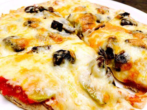 Pizza con champiñones. La Escalonia.