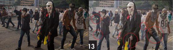 A la izquierda, la imagen original (EFE/Miguel Gutiérrez); a la derecha, la foto manipulada, en la que se miran armas insertadas en las manos de los dos manifestantes.