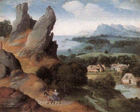 """Fragmento de """"Paisaje con la Huida a Egipto"""". Joachim Patinir. Circa 1520"""