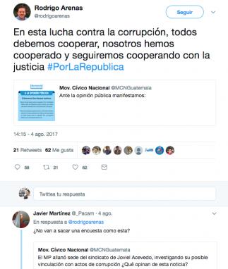 Tuit de Arenas sobre allanamiento