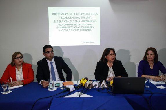 Ana Guzman, Rottman Pérez, Mayra Véliz y Miriam de Lossi, en la conferencia de Prensa donde respondieron los señalamientos de Consuelo Porras.