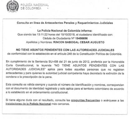 Antecedentes de César Rincón, de Colombia.