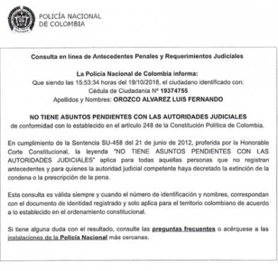 Antecedentes de Luis Fernando Orzoco, en Colombia.