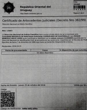 Antecedentes de Roque Véliz, de Uruguay.