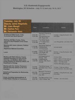 Agenda de reuniones entre empresarios y lobistas.