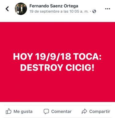 Publicación hecha por el empresario Fernando Sáenz antes de la firma del nuevo contrato con los lobistas.