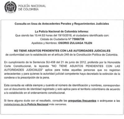 Antecedentes de Yilen Osorio, de Colombia.