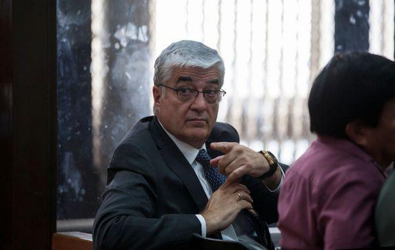Carlos Vielmann, en la audiencia donde enviado a juicio por uno de los dos delitos que le sindicaba el MP y CICIG.