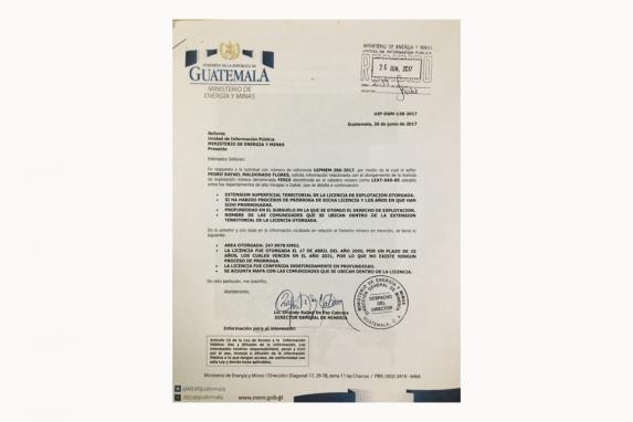 Respuesta a la solicitud de información pública de Rafael Maldonado.