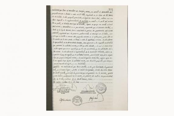 Copia del acta firmada por el viceministro de Energía.